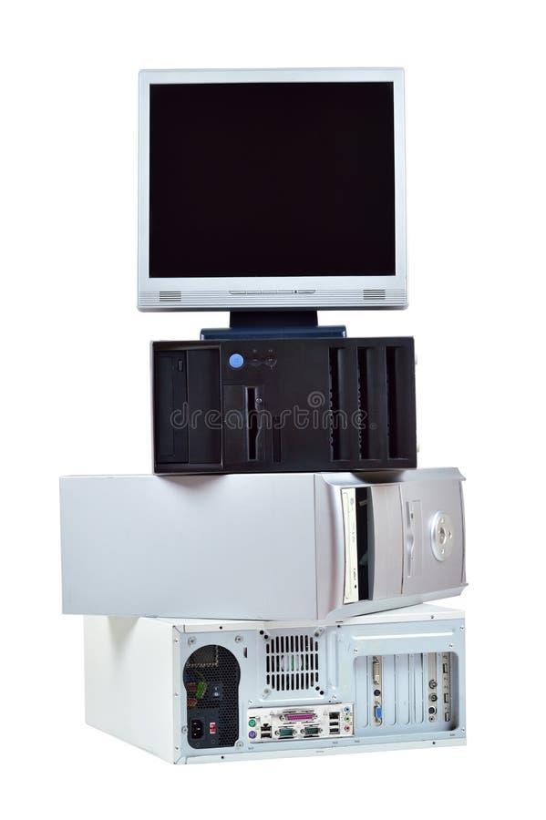 老计算机和电子废物 库存图片