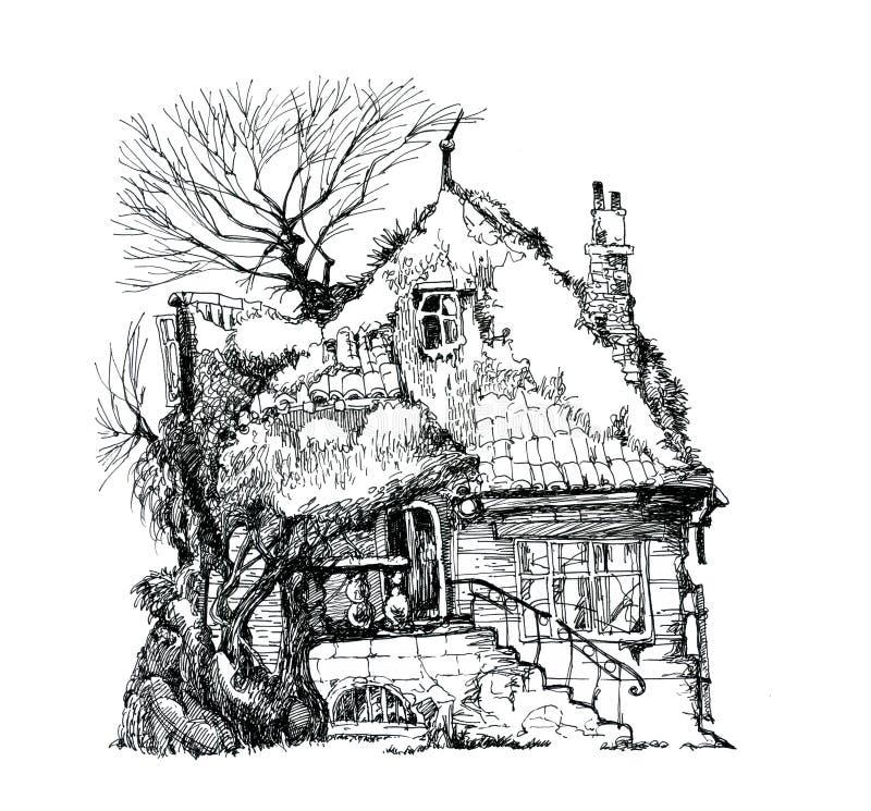 老议院,废墟 墨水图画 库存例证
