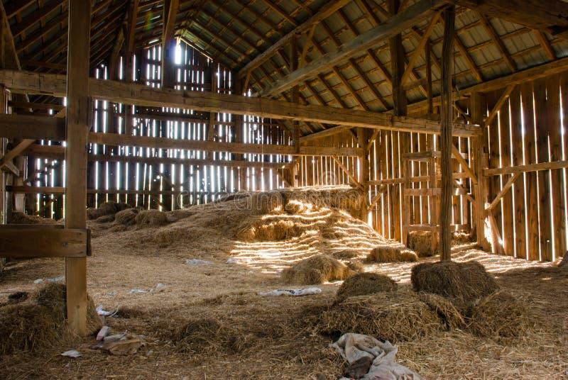 老谷仓充分的干草 图库摄影