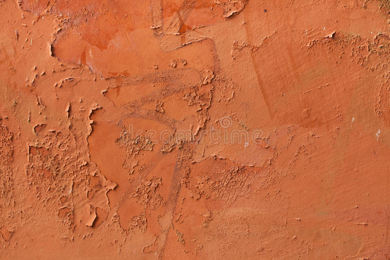 老赤土陶器绘了有切削的油漆的灰泥墙壁 Backgroun 库存照片