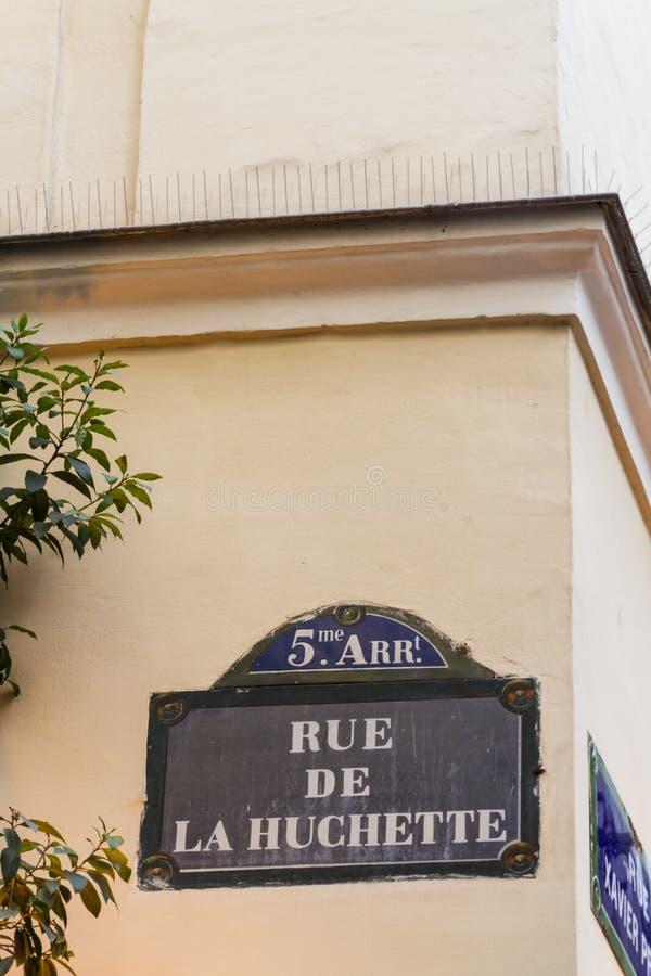 巴黎老路牌Rue De La Huchette 库存图片