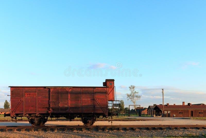 老车辆纵列,奥斯威辛比克瑙集中营 免版税库存图片