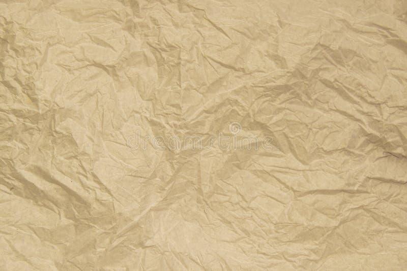 老软的褐色弄皱了纸抽象纹理背景 库存例证