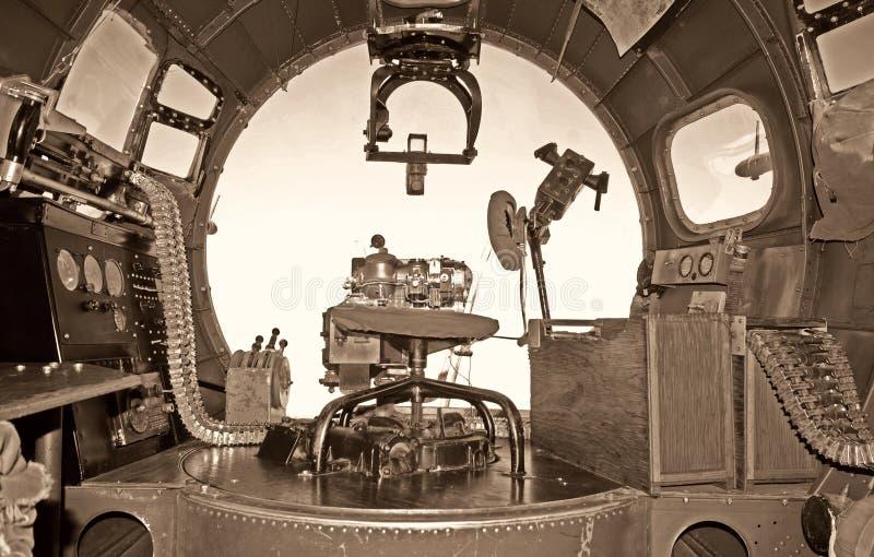 老轰炸机驾驶舱 免版税库存照片