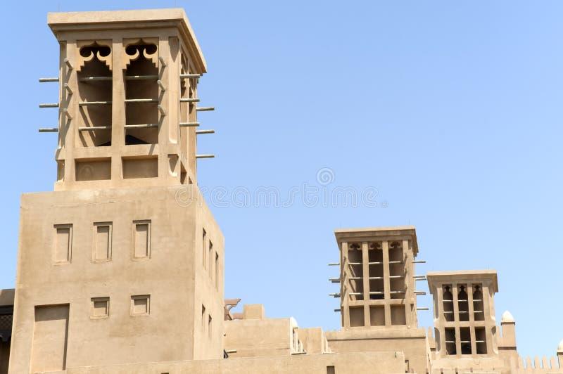 老连栋房屋在迪拜阿联酋 免版税库存图片