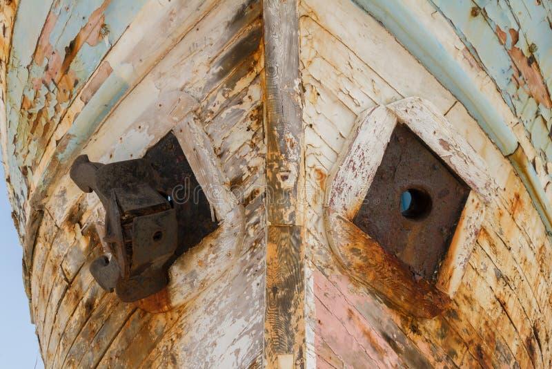 老遗弃木渔船击毁特写镜头 免版税库存图片