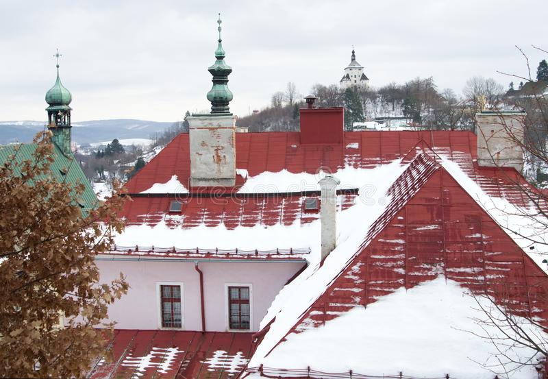 老采矿镇Banska Stiavnica 库存照片