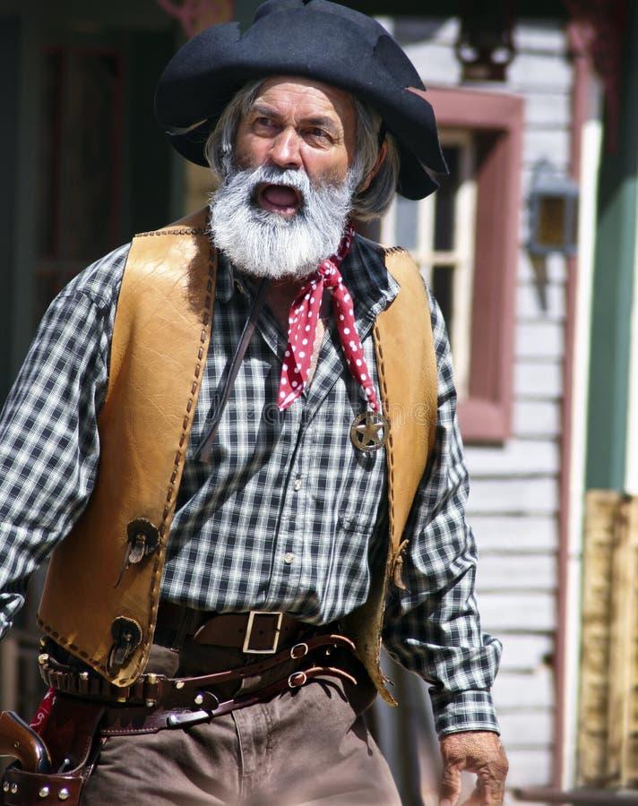 老野生西部牛仔警长 免版税库存照片