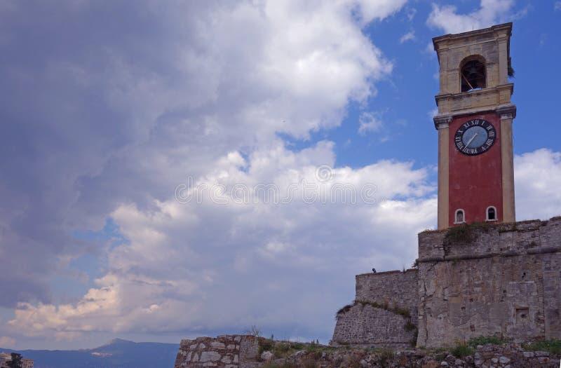 老钟楼在克基拉岛 库存图片