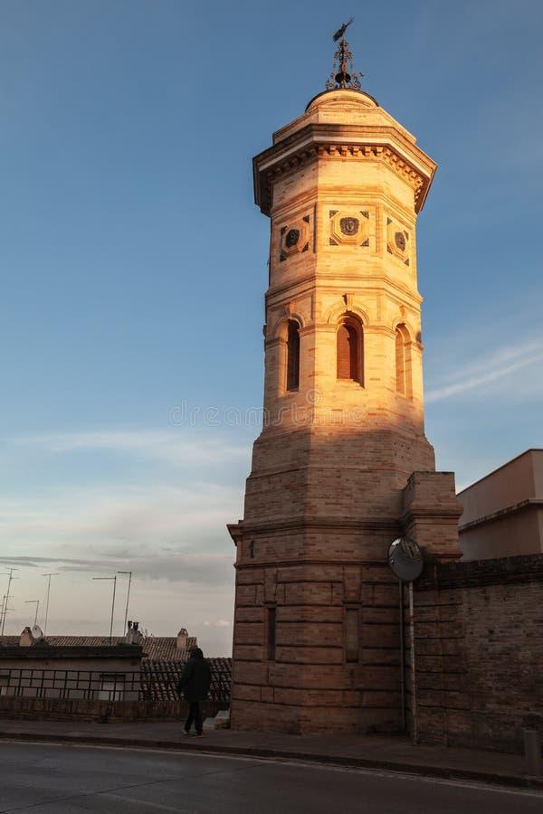 老钟楼在费尔莫,意大利 库存图片