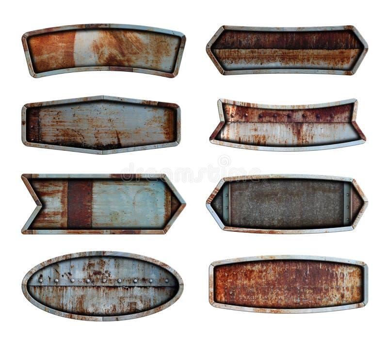 老钢金属标志板材纹理背景 免版税库存照片