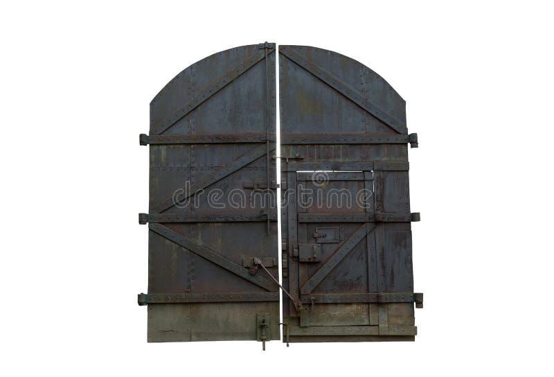 老铁巨型的闭合的门 库存照片