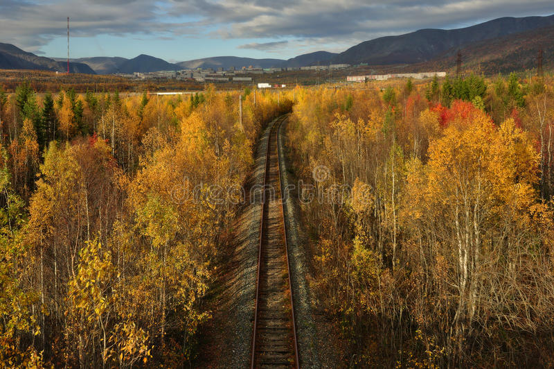 老铁路在五颜六色的秋天森林& x28里; 看法从上面& x29; 库存照片