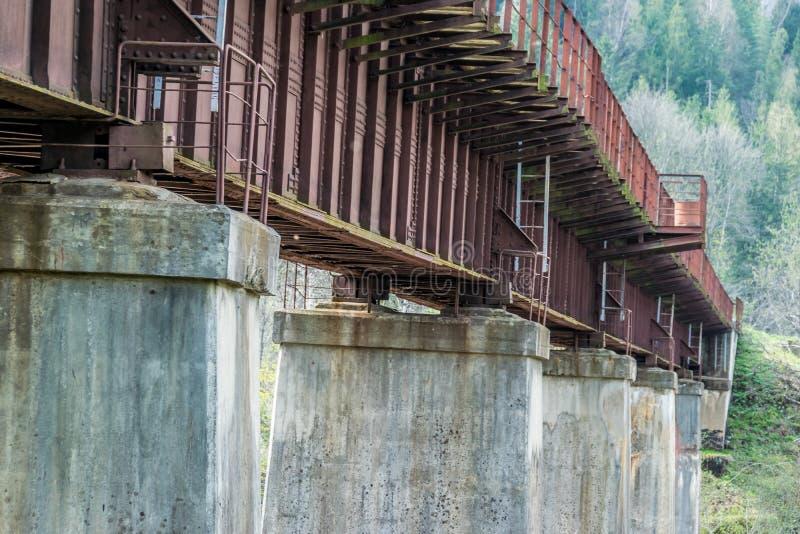 老铁铁路桥的具体专栏 库存照片