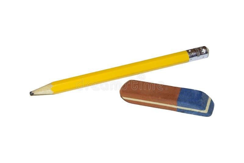 老铅笔和橡皮擦 免版税图库摄影