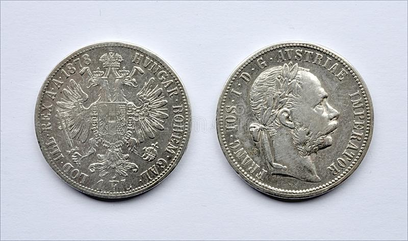 老银币、匈牙利和奥地利 免版税库存照片