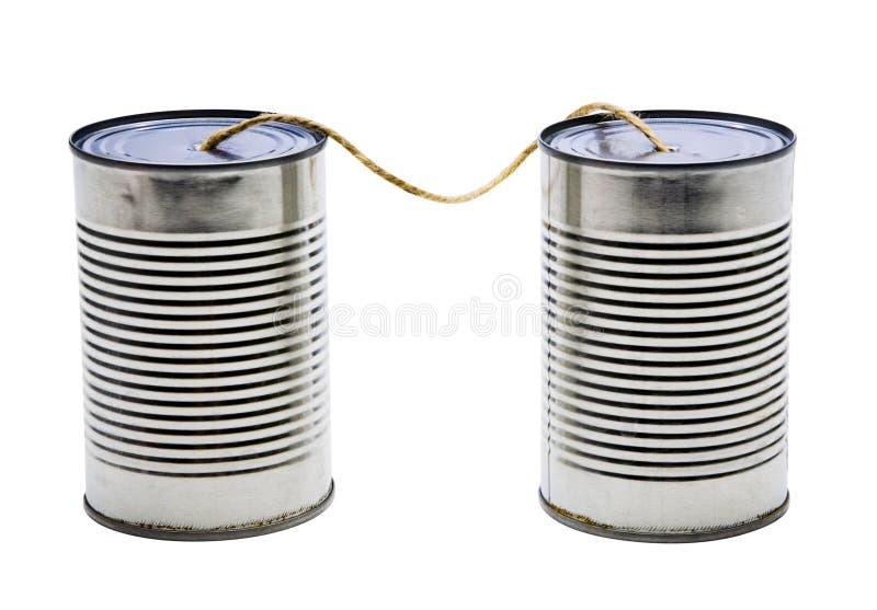 老锡罐电话 库存照片