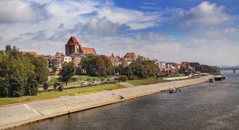 老镇全景在托伦,波兰 免版税库存照片
