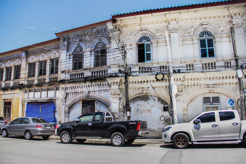 老镇区在普吉岛 免版税库存图片