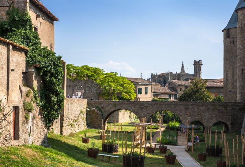 老镇卡尔卡松,南法国的看法。 库存图片