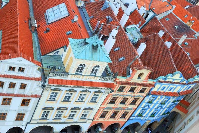 老镇历史的房子屋顶 免版税库存照片