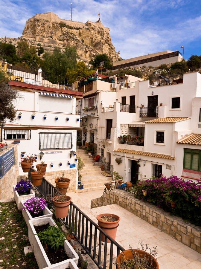 老镇和城堡在阿利坎特,西班牙 免版税库存照片