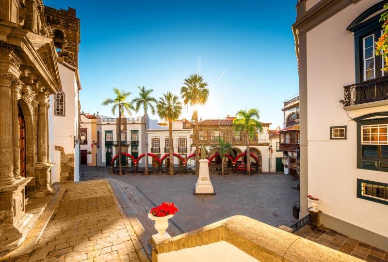 老镇圣克鲁斯de la的帕尔马中心广场 免版税图库摄影