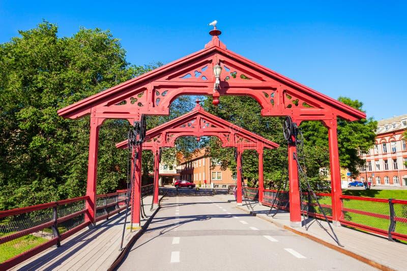 老镇桥梁,特隆赫姆 免版税库存照片
