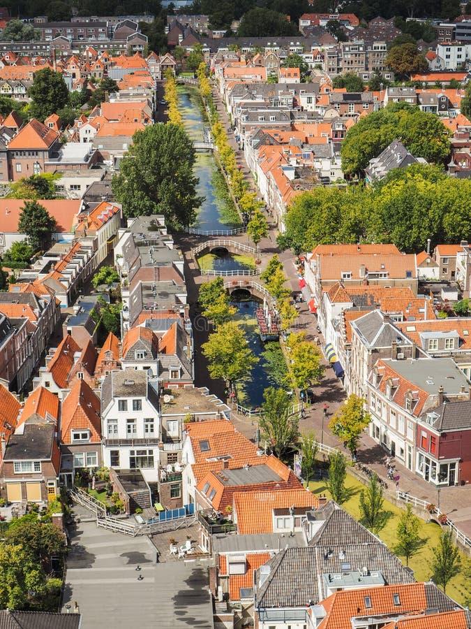 老镇的全景鸟瞰图在德尔福特,荷兰, du 库存图片