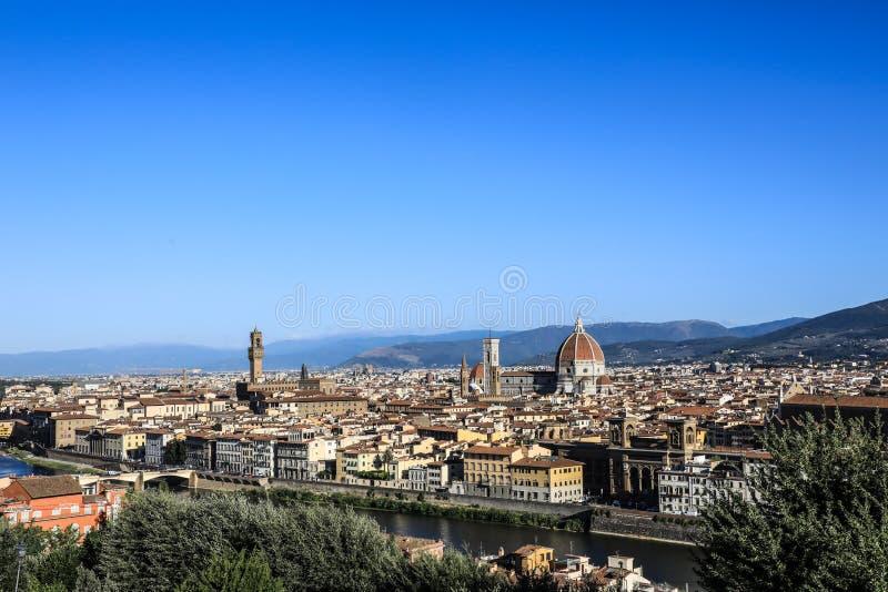 老镇的意大利佛罗伦萨全景 库存图片