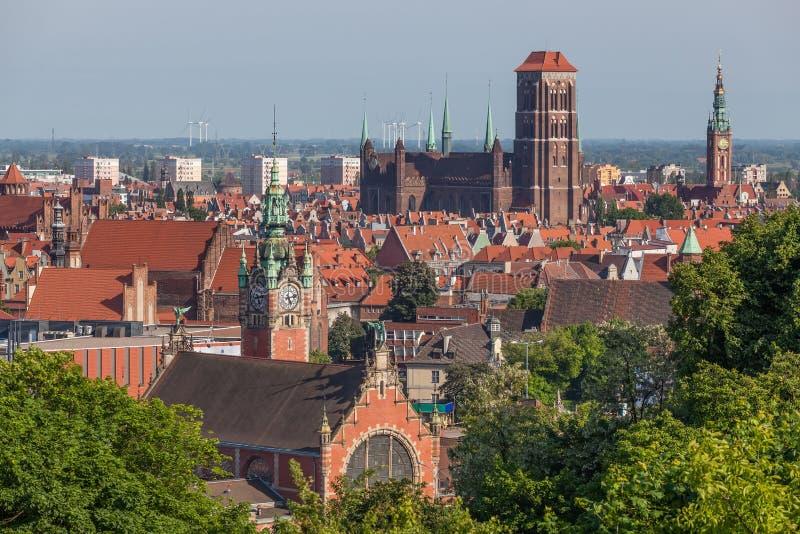老镇的看法在格但斯克,波兰 免版税图库摄影