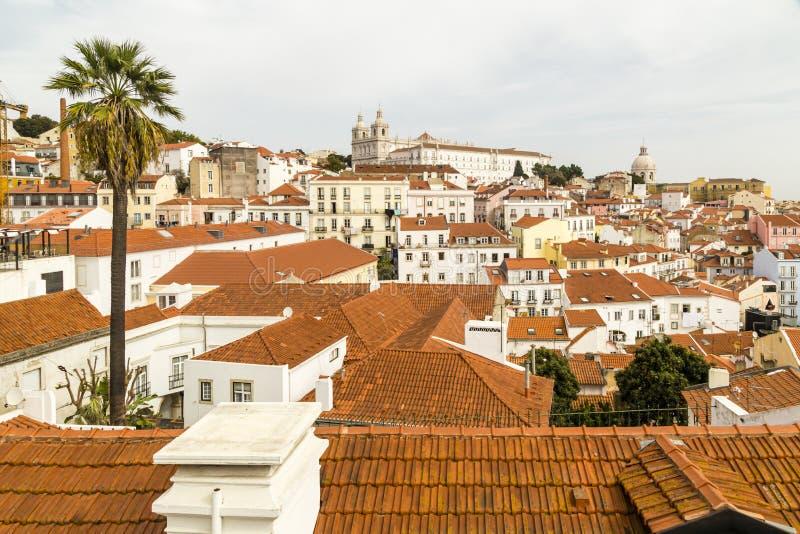 老镇的看法,里斯本,老镇的Portugalview,里斯本,葡萄牙 免版税库存照片