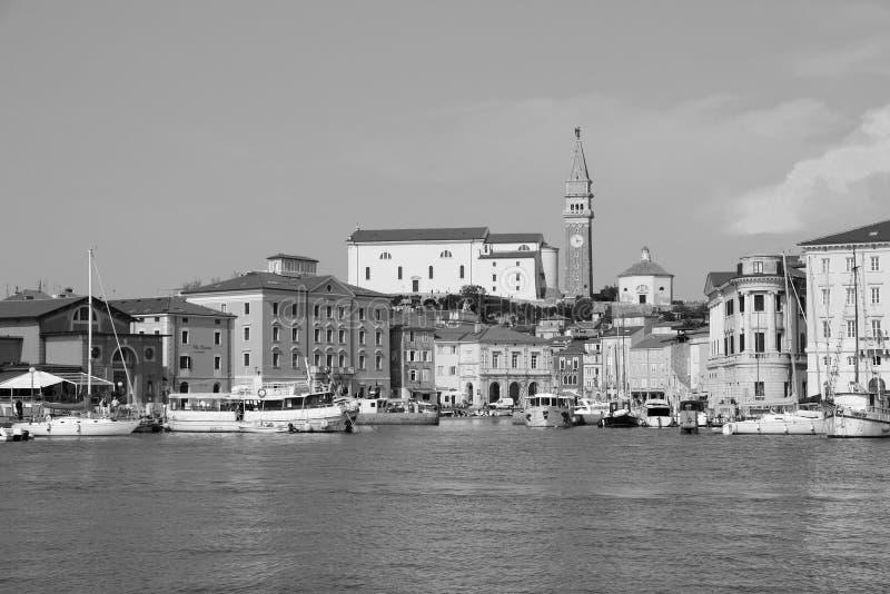 老镇皮兰-斯洛文尼亚海岸 免版税图库摄影