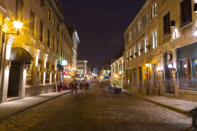 老镇蒙特利尔在晚上 免版税库存图片