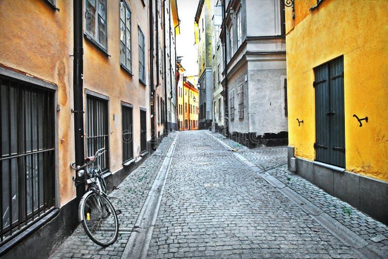 老镇街道。Stocholm 库存图片