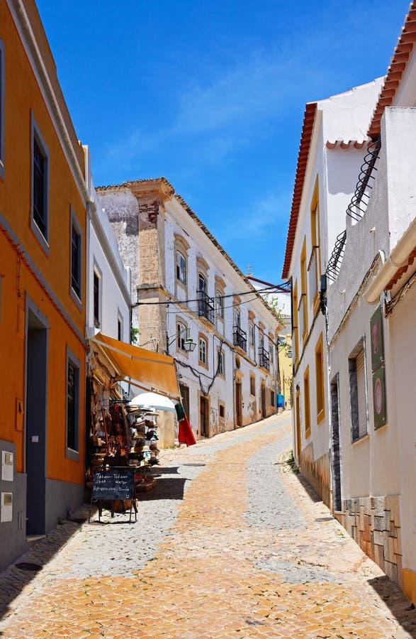 老镇街道, Silves,葡萄牙 库存照片