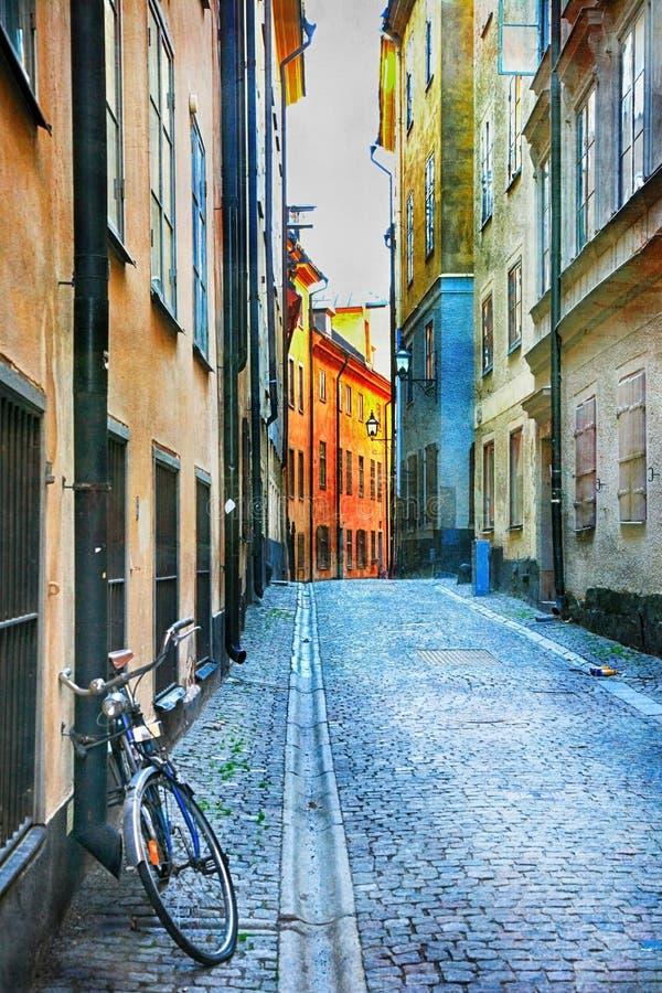 老镇迷人的五颜六色的街道在斯德哥尔摩, Sweeden 库存照片