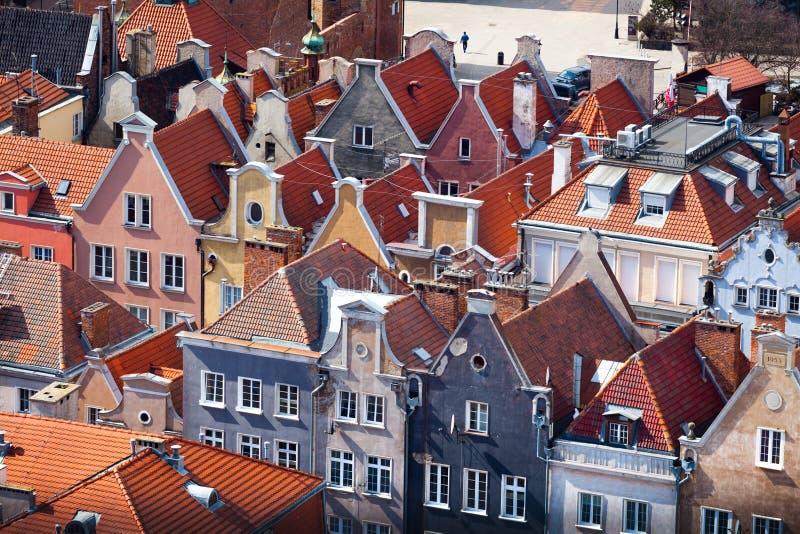 老镇鸟瞰图在格但斯克。 免版税图库摄影