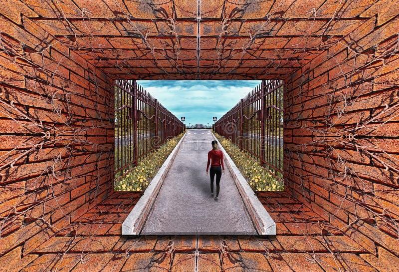 老隧道万花筒梯度3D视图有砖墙的 库存例证