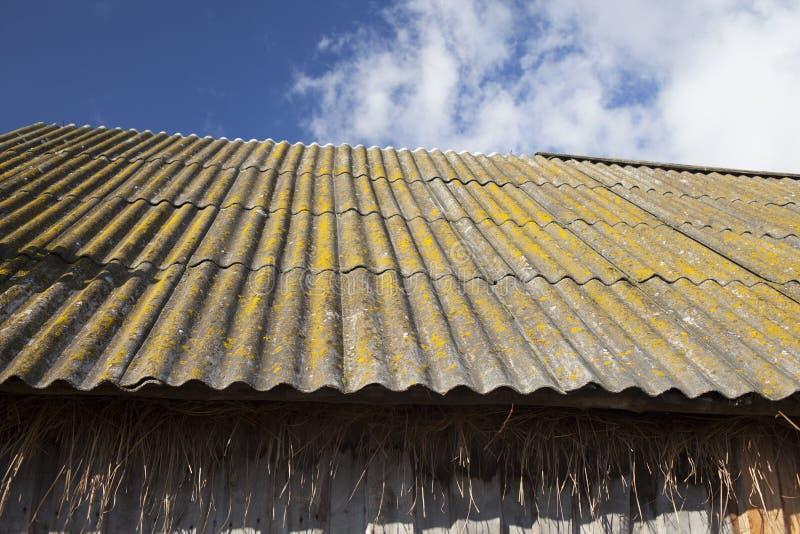 老难看的东西木棚子板岩瓦屋顶  库存图片