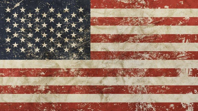 老难看的东西葡萄酒退了色美国美国旗子 库存例证