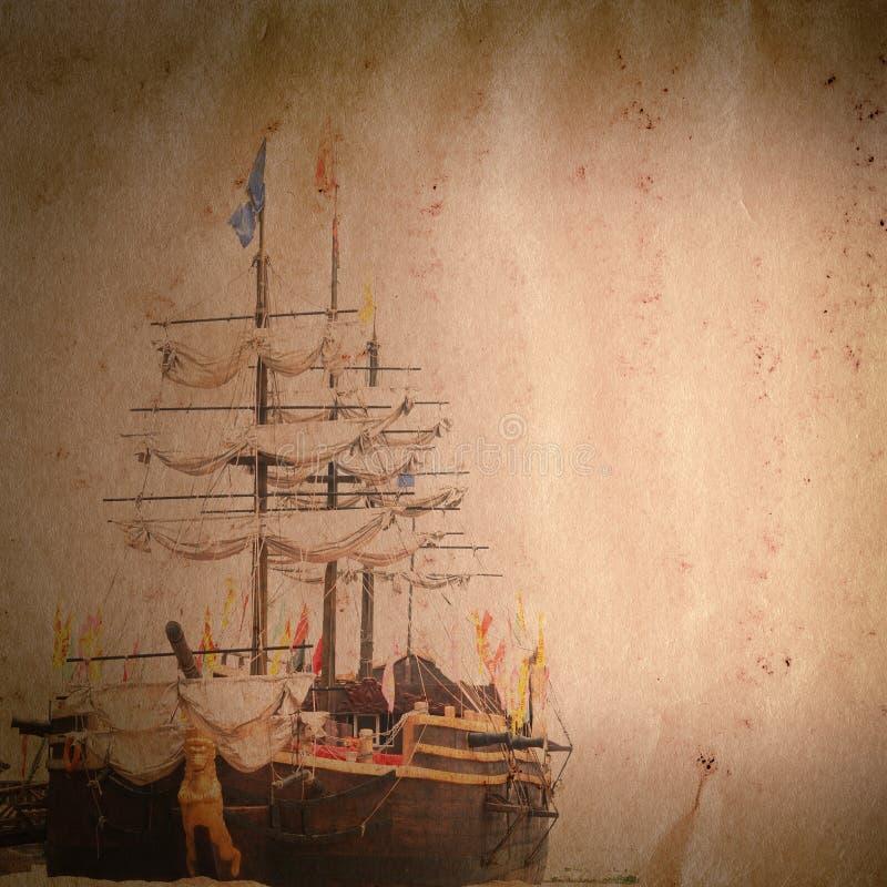 老风帆船grunge纸张纹理 免版税库存照片