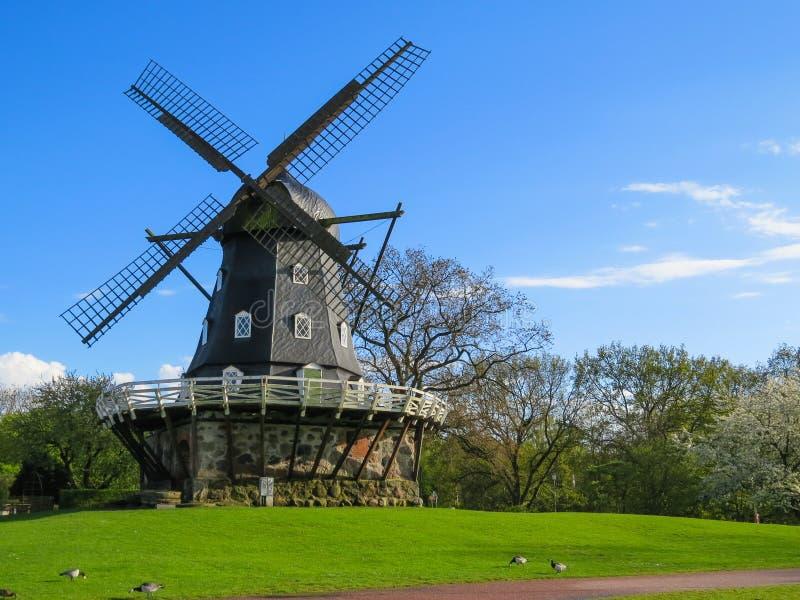 老风车在马尔摩,瑞典 免版税库存照片