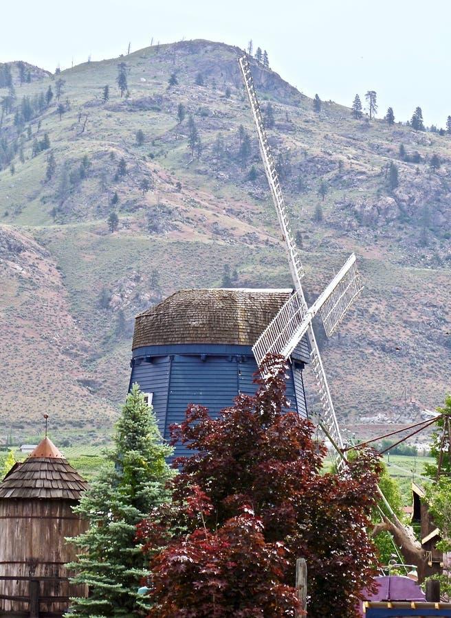 老风车,湖Osoyoos,不列颠哥伦比亚省,加拿大 库存图片