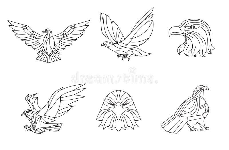老鹰、线传染媒介,标志和标志,传染媒介例证 向量例证