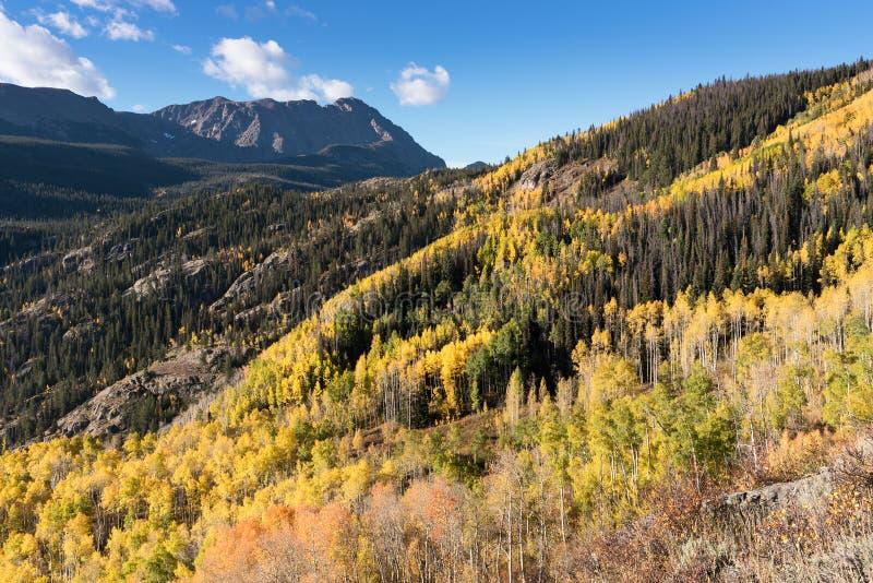 老鹰乐队巢峰顶13,091和Mt 鲍威尔13,560在早期的秋天 库存图片