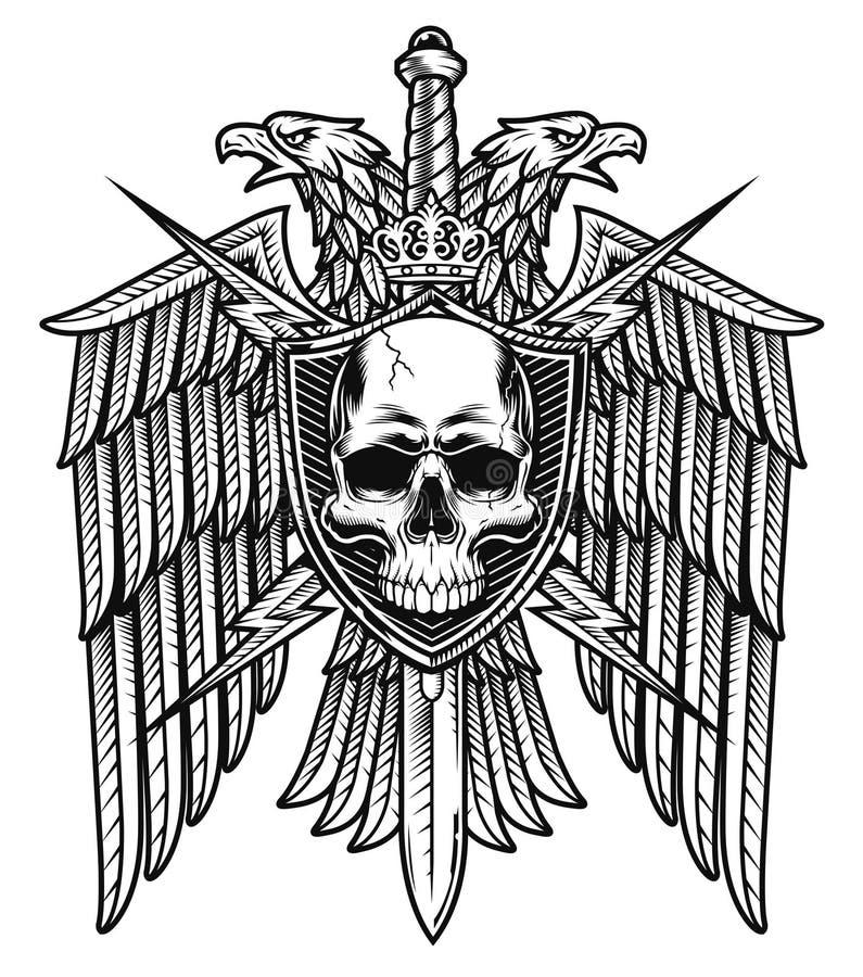 老鹰冠头骨盾徽章 皇族释放例证