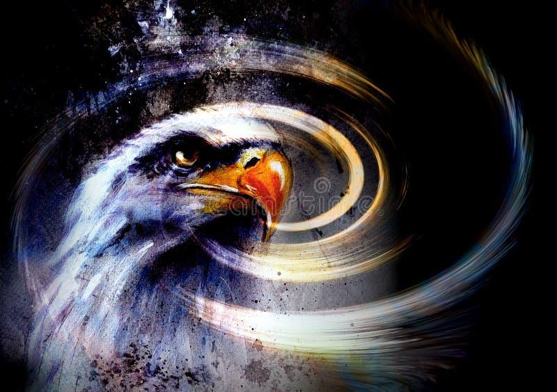 绘画老鹰和羽毛在抽象背景,美国Symbolpainting老鹰在抽象背景,美国标志自由 库存例证