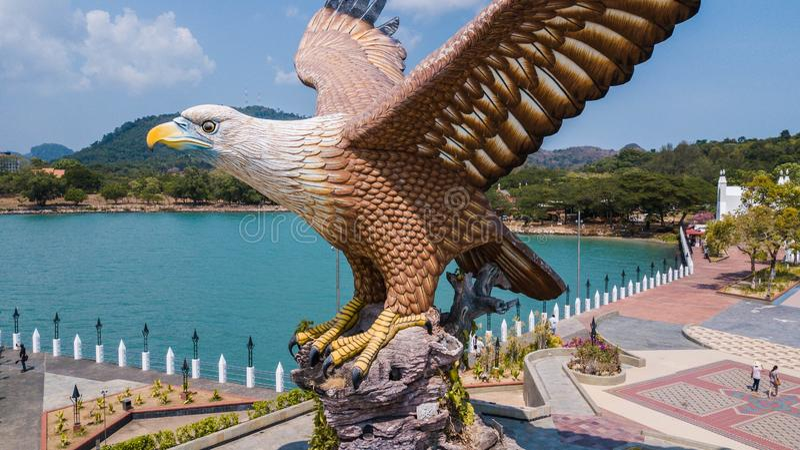 老鹰正方形接近的看法在凌家卫岛,马来西亚 库存图片