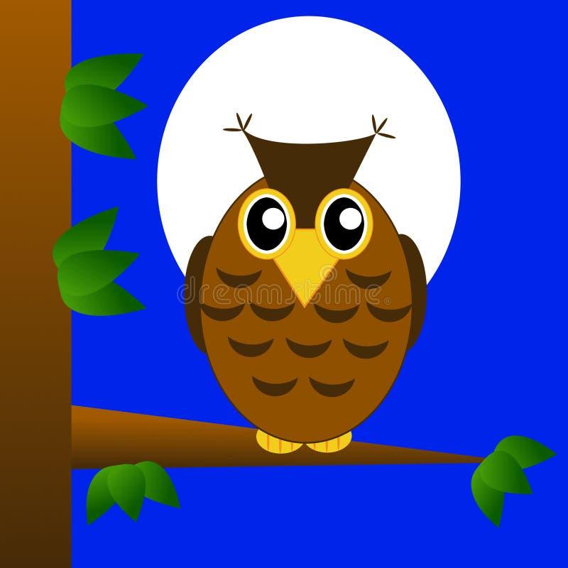 老鹰猫头鹰坐树在蓝色背景的晚上 皇族释放例证